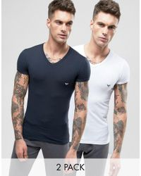 Emporio Armani | Multicolor 2 Pack Stretch Cotton V-neck T-shirt In Extreme Muscle Fit for Men | Lyst