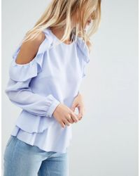ASOS - Blue Blouse With Ruffle Cold Shoulder - Lyst