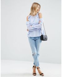 ASOS   Blue Blouse With Ruffle Cold Shoulder   Lyst