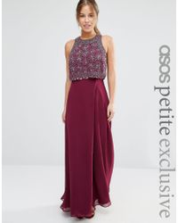 1892a29df9b ASOS Petite All Over Embellished Crop Top Maxi Dress in Red - Lyst