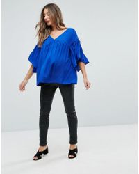 ASOS - Blue Tall Smock Top With Ruffle Sleeve - Lyst