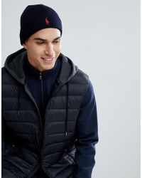 7cad1289 Polo Ralph Lauren Player Beanie Merino Wool In Navy in Blue for Men ...