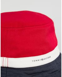 Tommy Hilfiger - Red Colour Block Bucket Hat - Lyst