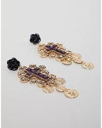 ASOS DESIGN - Metallic Jewel Cross And Coin Earrings - Lyst