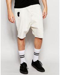 ASOS - White Denim Shorts In Drop Crotch In Ecru With Rip And Repair for Men - Lyst