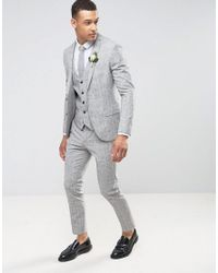 River Island - Gray Wedding Skinny Suit Pants In Grey Check for Men - Lyst