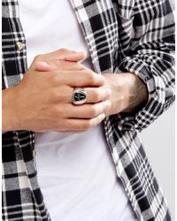 Icon Brand - Metallic Premium Egalite Tag Ring In Silver & Black for Men - Lyst