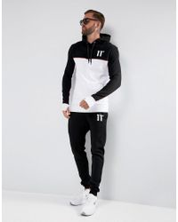 11 Degrees - Hoodie In Black With White Panel for Men - Lyst