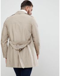 ASOS DESIGN - Natural Shower Resistant Trench Coat In Stone for Men - Lyst