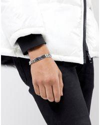 ASOS - Black Bracelet With Roman Numerals Id Design In Gunmetal for Men - Lyst