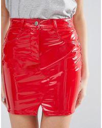 ASOS - Denim Red Vinyl Mini Pelmet Skirt - Lyst