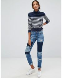 Noisy May Tall - Blue Girlfriend Patchwork Jeans - Lyst