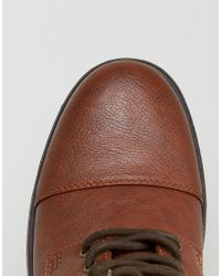 River Island - Worker Lace Up Boots In Brown - Lyst