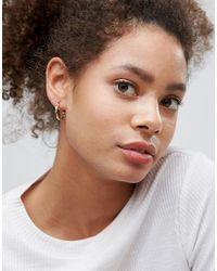 ASOS - Metallic Design Pack Of 3 20mm Hoop Earrings In Gold - Lyst