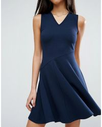ASOS - Blue Skater Dress With Asymmetric Full Skirt Dress With V Neck - Lyst