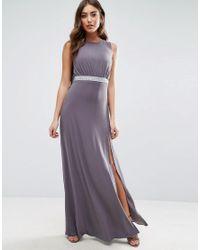 ASOS - Gray Drape Back Sparkle Maxi Dress - Lyst