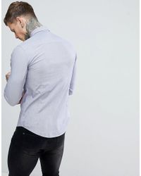 Emporio Armani - Blue Slim Fit Textured Shirt In Navy for Men - Lyst
