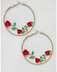ASOS - Metallic Asos Rose Detail Hoop Earrings - Lyst