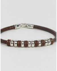 Seven London - Brown Bead & Leather Bracelet - Lyst