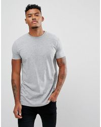 ASOS - Gray Longline T-shirt With Slogan Text Print for Men - Lyst