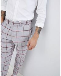 ASOS - Design Tapered Smart Pants In Light Gray Wool Mix With Red Check for Men - Lyst
