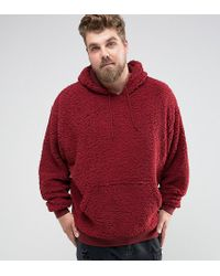 ASOS | Red Plus Borg Oversized Hoodie for Men | Lyst