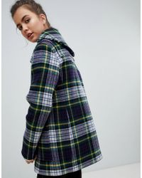 Gloverall - Blue Slim Mid Length Duffle Coat In Check - Lyst