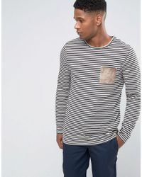 ASOS | Multicolor Stripe Longline Long Sleeve T-shirt With Suede Look Pocket for Men | Lyst