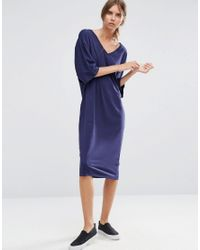 ASOS | Blue Midi T-shirt Dress With Kimono Sleeve | Lyst