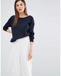 SELECTED - Blue Penna Deep Back Knitted Pullover - Lyst