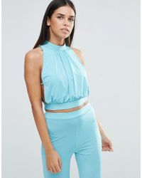 Love | Blue High Neck Tie Back Top With Lace Detail | Lyst