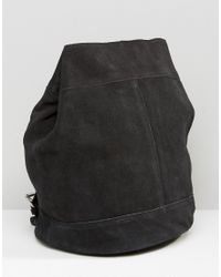 Pieces - Black Suede Backpack - Lyst