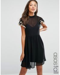 ASOS | Black Skater Dress With Lace Flutter Sleeve | Lyst