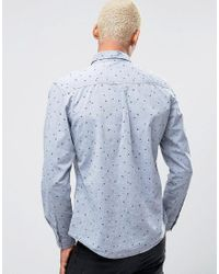 Esprit   Blue Shirt With Pocket And All Over Print for Men   Lyst