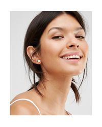 Ted Baker - Metallic Enamel Mini Button Stud Earrings - Lyst