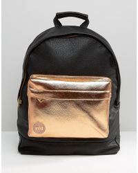 faec1712c Mi-Pac Exclusive Tumbled Backpack With Rose Gold Pocket in Black - Lyst