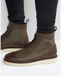 Fred Perry | Brown Northgate Leather/wool Brogue Boots for Men | Lyst