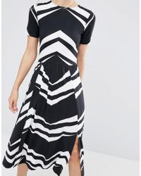 ASOS - Multicolor Midi Dress In Chevron Print - Lyst
