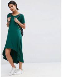 ASOS | Green T-shirt Dress With Dipped Hem | Lyst