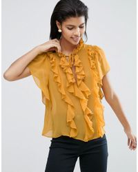 ASOS | Yellow Ruffle Blouse With Short Sleeve & Tie | Lyst