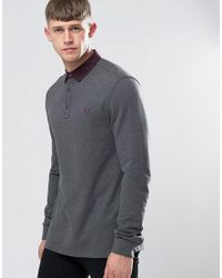 Fred Perry | Gray Polo Shirt With Woven Collar And Long Sleeves In Graphite Marl for Men | Lyst
