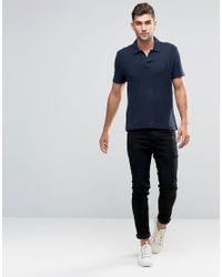 Original Penguin - Blue Open Collar Double Knit Pique Polo Shirt for Men - Lyst