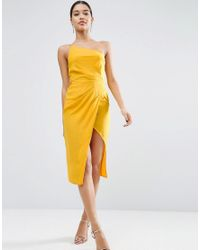 ASOS | Yellow One Shoulder Drape Midi Dress | Lyst
