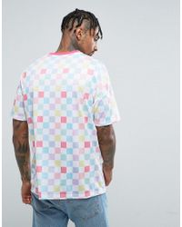ASOS - White Oversized T-shirt With Pastel Checkerboard Print & Contrast Neck Trim for Men - Lyst
