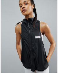 ASOS 4505 - Black Sleeveless Run Jacket With Back Zip Functional Detail - Lyst