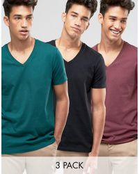 ASOS | 3 Pack T-shirt With V Neck In Black/red/green Save for Men | Lyst