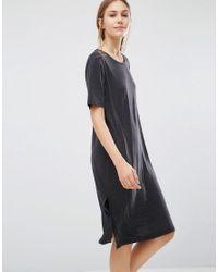 Just Female | Gray Pen T-shirt Dress | Lyst