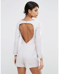 ASOS | Metallic Playsuit With Ruffle Detail And Cut Out Back | Lyst