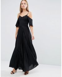 ASOS | Black Cold Shoulder Pleated Maxi Dress With Lace Detail | Lyst