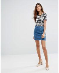 ce92671f3 Lyst - Oasis Denim Seamed Mini Skirt in Blue